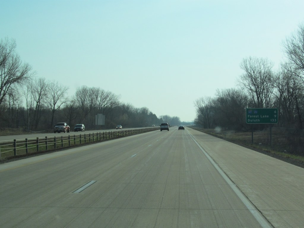City of lino lakes northbound view past exit 36 showing the sign